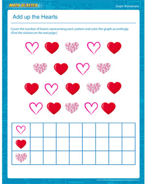 math worksheet : add up the hearts  free graph worksheets for kids  mathblaster : Picture Graph Worksheets For Kindergarten
