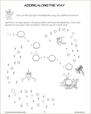 Adding Along the Way - Printable Addition Worksheet for Kids