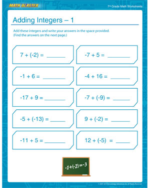 Printables Math Problems For 7th Graders Worksheets adding integers 1 math worksheet for 7th grade blaster learn how to add with this free worksheet