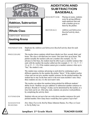 Addition and Subtraction Baseball - Free Mental Math Worksheet for 2nd Grade