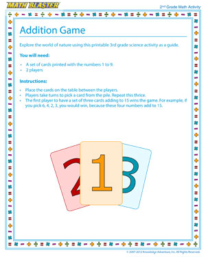 Addition Game - Online Math Activity for Elementary