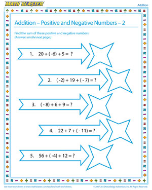 Addition - Positive and Negative Numbers – 2 - Printable Worksheet for Elementary Algebra