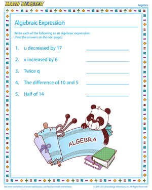 math worksheet : algebraic expression  algebra worksheets for kids  math blaster : Math Algebraic Expressions Worksheets