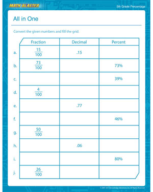 math worksheet : all in one  percentage math printable for fifth grade  math blaster : Percentage Maths Worksheets