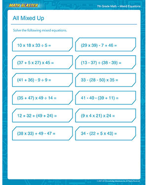 All Mixed Up - Free Mixed Fractions Worksheet for 7th Grade