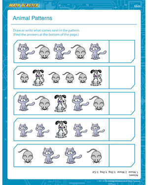 Animals Patterns – Printable 1st Grade Math Worksheet – Math Blaster
