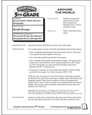 Around the World - Printable Math Worksheet for Fifth Graders