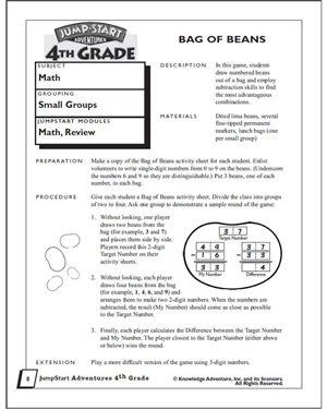 Bag of Beans - Subtraction Worksheet for 4th Graders