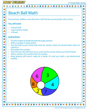 Beach Ball Math - Printable Math Activity for Elementary