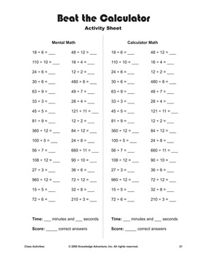 Beat the Calculator - Printable Division Problems and Activities ...