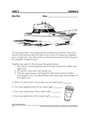 Boat Ride - Addition Worksheet for Kids