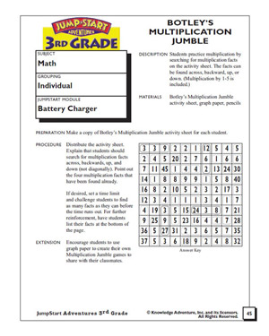 Botley's Multiplication Jumble - Printable Multiplication Worksheet for Third Graders