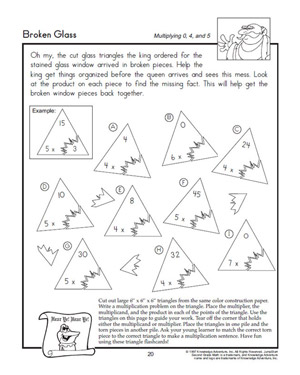Broken Glass - Printable Multiplication Worksheet for Kids