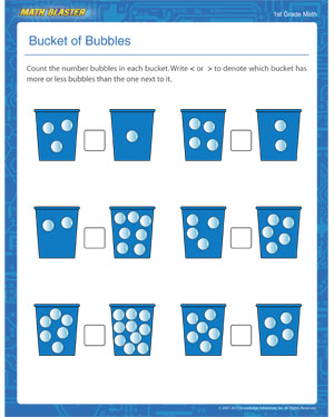 Bucket of Bubbles – Counting Worksheet for First Grade – Math Blaster