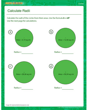 Calculate Radii - Printable Circles Worksheet for 4th Grade