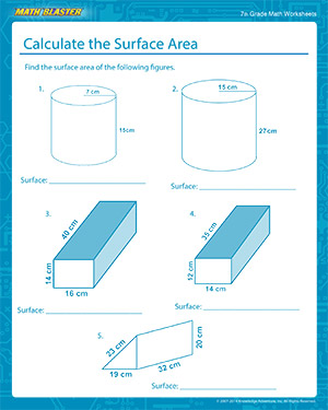Calculate the Surface Area Worksheets for 7th Grade