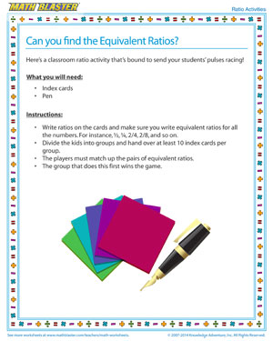 Online Ratio Activity and Printable for Elementary