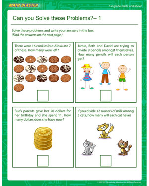 Can you Solve these Problems? – 1 - Printable Math Worksheet for 1st Grade