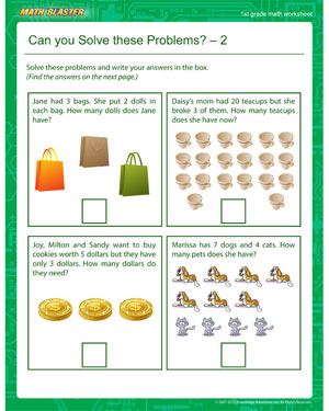Can you Solve these Problems? – 2 - Printable Math Worksheet for 1st Grade
