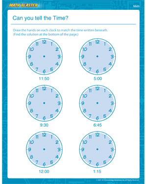 Can you tell the Time? - Printable Math Worksheet for 1st Grade