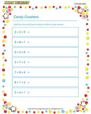 math worksheet : candy crushers  free addition pdf for 3rd grade  math blaster : 3rd Grade Printable Math Worksheets