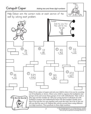 Catapult Caper - Printable Addition Worksheet for Second Graders