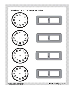 Clock Concentration - Printable Time Activity for Kids