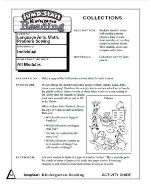 Collections - Printable Math Worksheet for Kindergarten