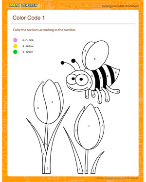math worksheet : color code 1  math worksheets for kindergarten  math blaster : Color Worksheet For Kindergarten