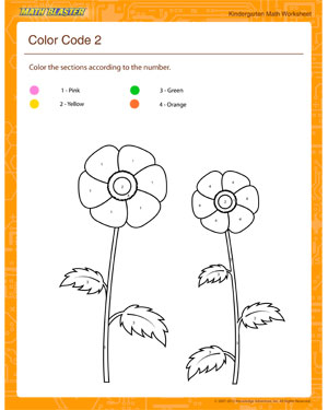 Color Code 2 - Printable Math Worksheet for Kindergarten