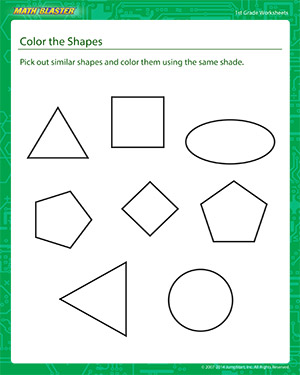 math worksheet : color the shapes  1st grade math printables  math blaster : Math Worksheets Shapes