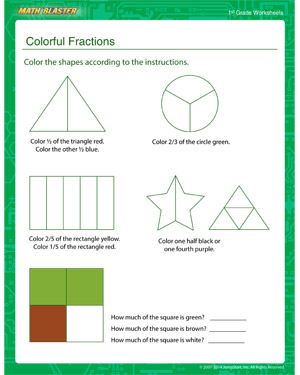 math worksheet : colorful fractions  first grade fraction worksheets  math blaster : First Grade Fraction Worksheets