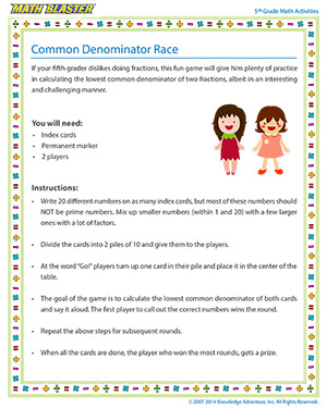 Common Denominator Race - Printable Online 5th Grade Arithmetic Activity for Kids