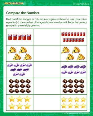 Compare the Numbers | Fun 1st Grade Math Worksheets | Math Blaster
