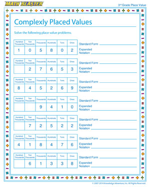 Complexly Placed Values - Place value worksheet for kids