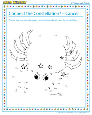 connect the constellation cancer 2nd grade math activity math blaster. Black Bedroom Furniture Sets. Home Design Ideas