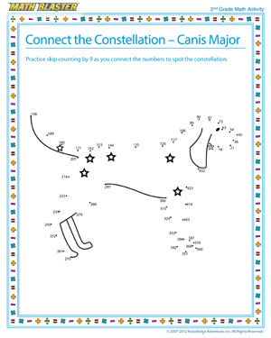 Connect the Constellation – Canis Major - Printable Math Activity for Elementary