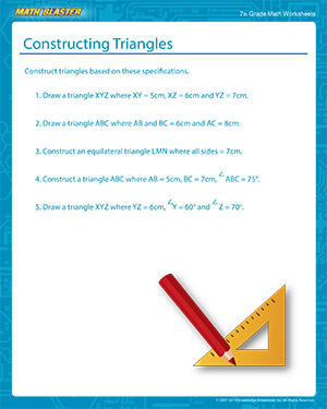 Constructing Triangles Worksheets for 7th Grade