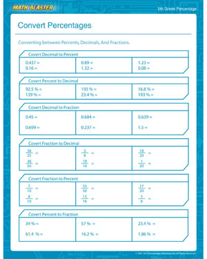 math worksheet : convert percentages  free printable percentage worksheet for 5th  : Maths Worksheets Percentages