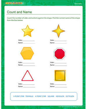 Free kindergarten geometry worksheet