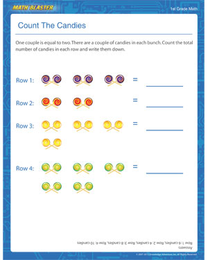 Count The Candies - Printable Counting Worksheet for Elementary
