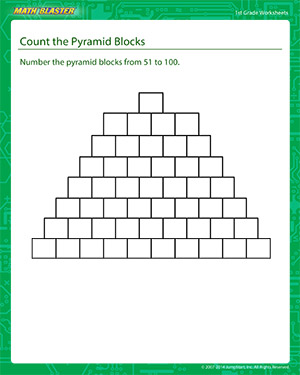 Count the Pyramid Blocks - Printable Math Worksheet for Kids