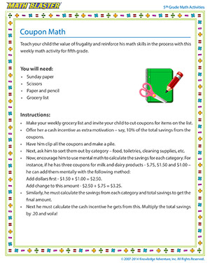 Coupon Math - Printable 5th Grade Arithmetic Activity for Kids