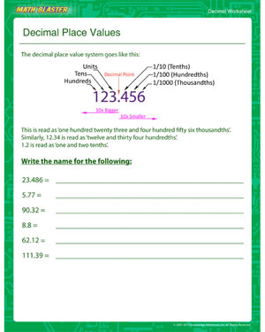 Decimal Place Values - Printable Decimal Worksheet for Kids