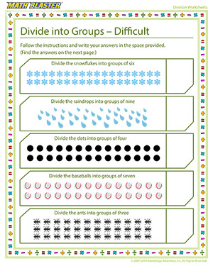 Printable Division Worksheet for Elementary