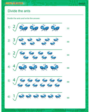 Divide The Ants Simple Division Worksheet For New Learners Math Easy Division Worksheets Divide The Ants Free Division Printable
