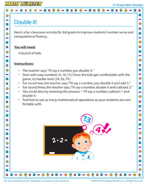 Double it! - 3rd Grade Printable Number Sense Activity