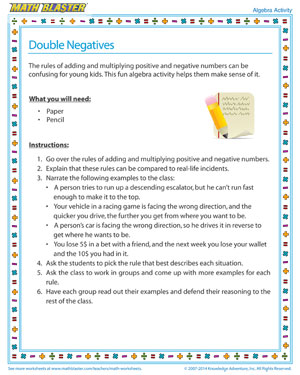 Double Negatives - Printable Algebra Activity for Kids