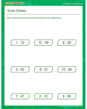 Draw Clocks - Printable Time Worksheet for Kids