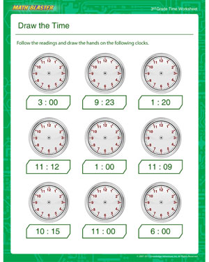 math worksheet : draw the time  free time printables for 3rd grade  math blaster : 3rd Grade Math Worksheet
